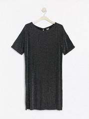 Svart kortermet kjole med lurex Metall