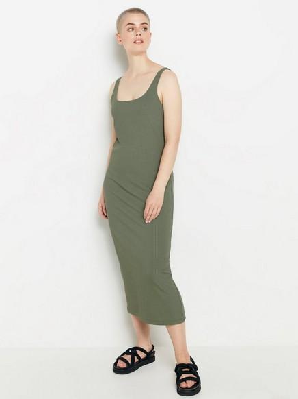 Grønn, ribbestrikket midikjole Grønn