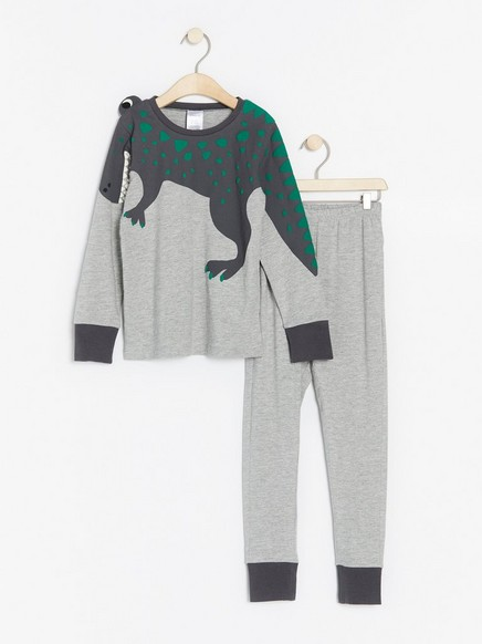 Pyjamas with dinosaur Grey