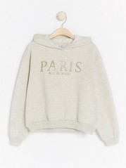 Hooded sweater with glittery Paris print White