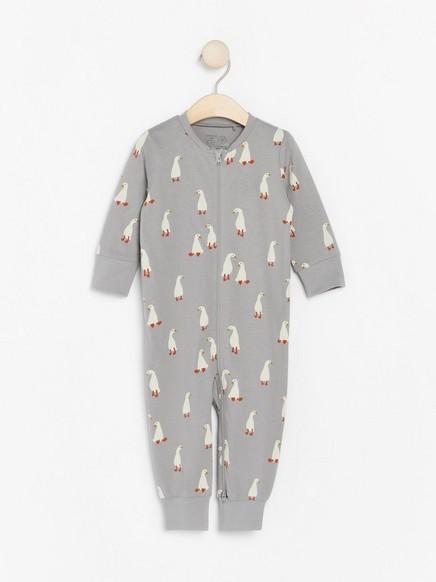 Pyjama, jossa ankkoja Harmaa