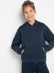 Dark navy hooded sweatshirt with pearls Blue