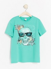 Turqouise t-shirt with hologram print Turquoise