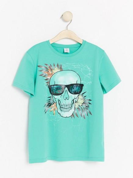 Turkis T-skjorte med hologramtrykk Turkis