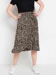 Leopardikuvioitu röyhelöhame viskoosia Beige