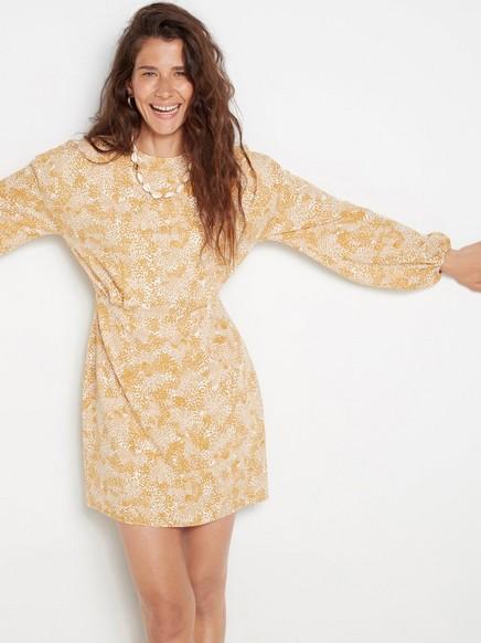 Mønstret, langermet kjole Gul