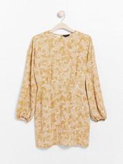 Vzorované šaty sdlouhým rukávem Žlutá
