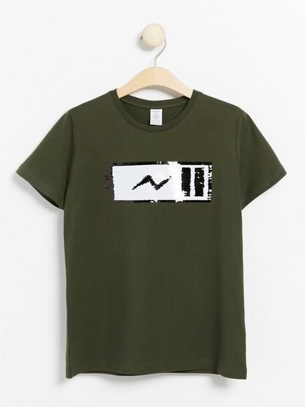 Vihreä t-paita, jossa käännettävät paljetit Vihreä