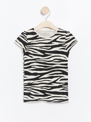 Short sleeve top with zebra print Black
