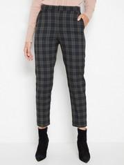 POLLY Checked high waist slacks Grey