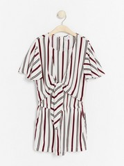 Striped jumpsuit with tie detail White