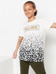 Lyhythihainen t-paita, jossa painatus edessä Valkoinen