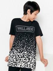 Lyhythihainen t-paita, jossa painatus edessä Musta