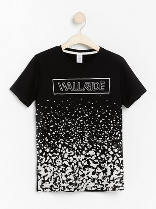Short sleeve t-shirt with front print Black