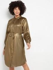 Pitkähihainen metallinsävyinen mekko Keltainen