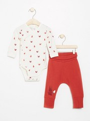 Set with wrap bodysuit and trousers with foxes Orange