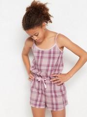 Rosarutig pyjamasjumpsuit i flanell Rosa