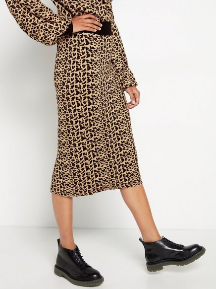 Leopardikuvioitu neulehame, jossa on kimallelankaa Beige