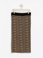 Strikket leopardmønstret skjørt med lurex Beige