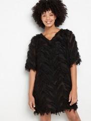 Svart klänning med fransar Svart