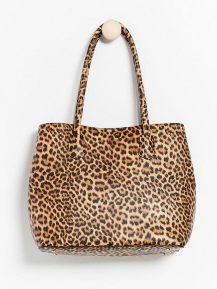 Leopardmønstret, stor veske Beige