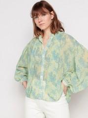 Langermet bluse med knytebånd Grønn
