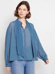 Langermet bluse med knytebånd Blå