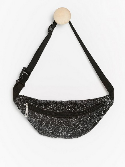 Glittery bum bag Black