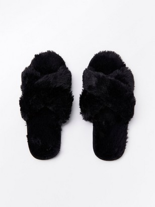 Black fake fur slippers Black