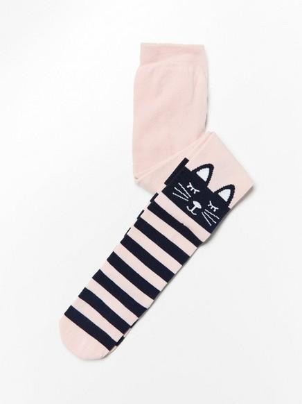 Sukkahousut, joissa raitoja ja kissannassu Vaaleanpunainen