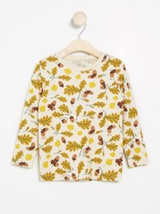 Long sleeve top with acorn and leaf print Beige