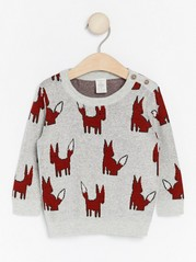 Knitted jumper with animals  Grey