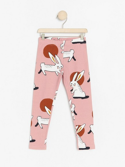Pink leggings with rabbit print and brushed inside Pink