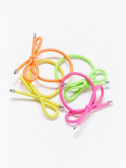 4-pack neon hair elastics with bows Coral