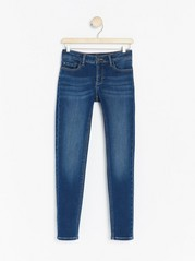 Blue slim fit jersey jeans with brushed inside Blue