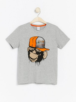 T-shirt with monkey print and hologram effect Grey
