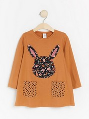 Brown jersey tunic with rabbit and pockets Brown
