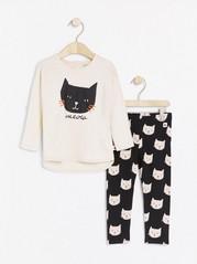 Sett med overdel og leggings med kattetrykk Beige