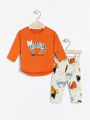 Sett med overdel og leggings med kattetrykk Oransje