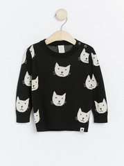 Black knitted jumper with cats Black