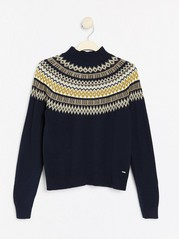 Fair isle patterned knitted jumper Blue