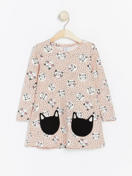 Patterned jersey tunic with cats Pink