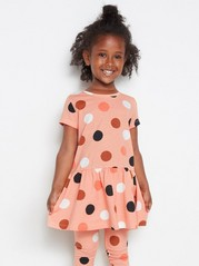 Patterned short sleeve tunic Coral