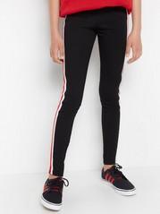 Black jersey leggings with side stripes Black
