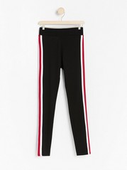 Black jersey leggings with side stripes Black