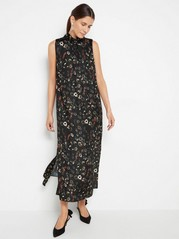 Ärmlös mönstrad klänning Svart