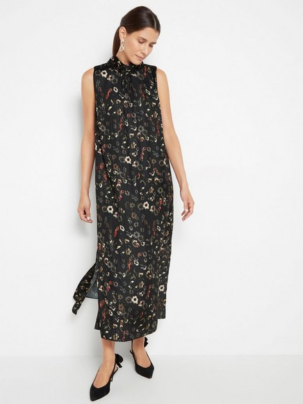 Vzorované šaty bez rukávů Černá