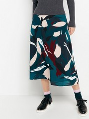 Patterned midi skirt Green