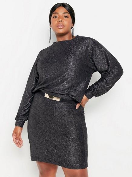 Glitrende genser Grå