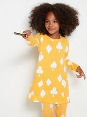 Kuvioitu trikootunika, jossa taskut Keltainen